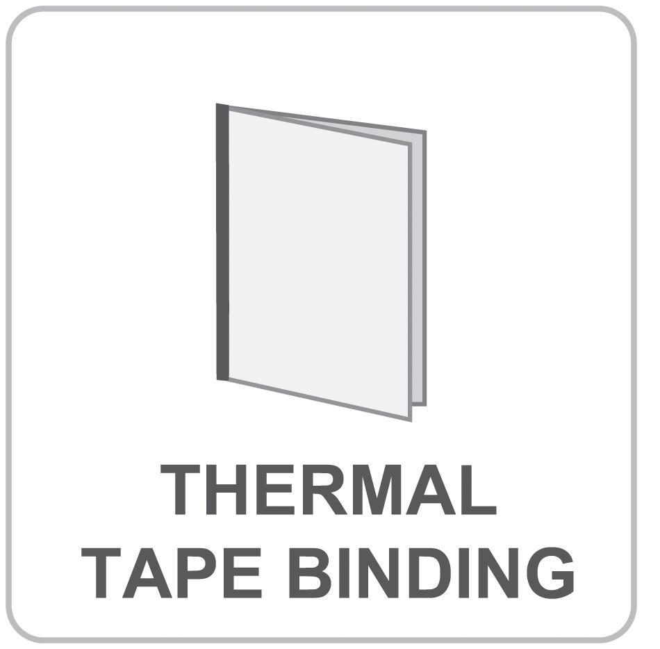 bindery, wholesale printer, Thermal Tape Binding, Thermal Tape Binding options, printing, print finishing options